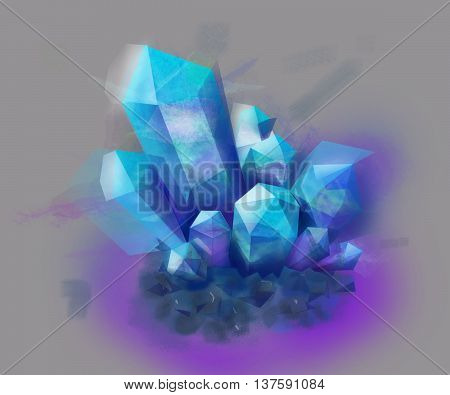 Blue Crystal stone. Blue stone. Blue Crystal on gray background