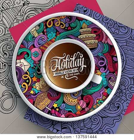 Vector illustration with a Cup of coffee and hand drawn holidays doodles on a saucer, on paper and on the background