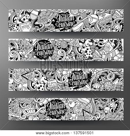 Cartoon cute sketchy vector hand drawn doodles italian food corporate identity. 4 horizontal line art banners design. Templates set