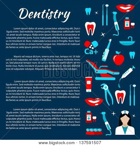 Dentist office and dental treatments infographics design template with row of dentist tools and chair, doctor, healthy teeth and smiles, toothpastes and toothbrushes, braces, vitamins and mouthwashes flat icons and copy space for your text