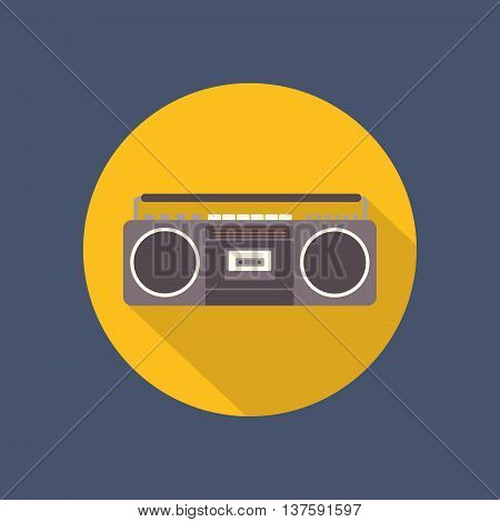 Tape recorder flat icon on dark background. Retro design. Vintage. Vector illustration.