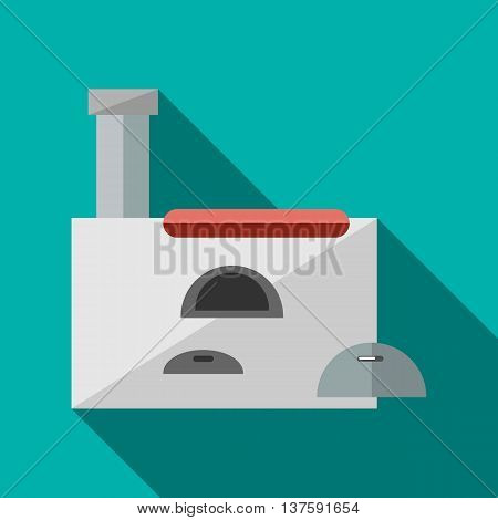 Russian stove icon in flat style on a turquoise background