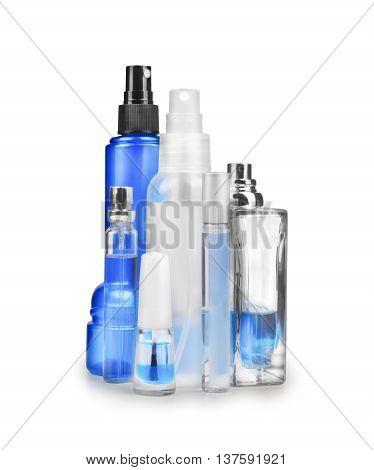 spray bottles isolated on white background .
