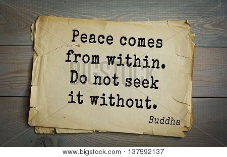 Buddha quote on old paper background. Peace comes from within. Do not seek it without.
