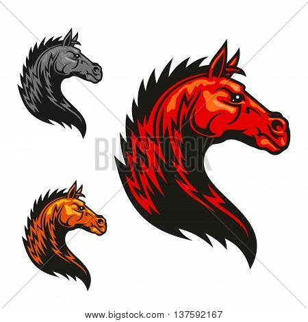 Powerful tribal stallion cartoon symbol for motorsport theme or equestrian club badge design with red horse profile with wavy fur and mane like fire flames