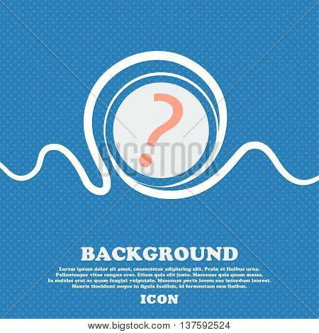 Question Mark Sign Icon. Help Symbol. Faq Sign. Blue And White Abstract Background Flecked With Spac