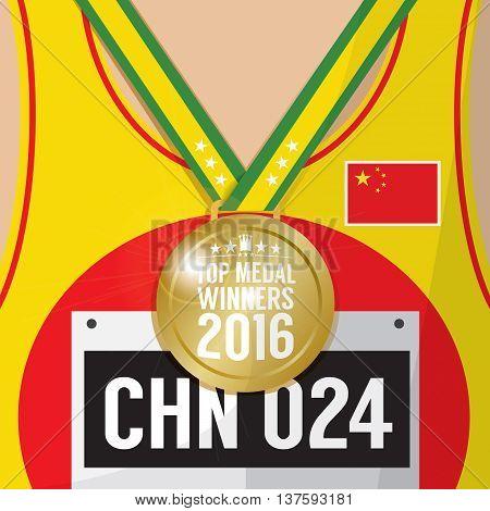 Top Medal Winner 2016 Sport Competition Concept Vector Illustration. EPS 10