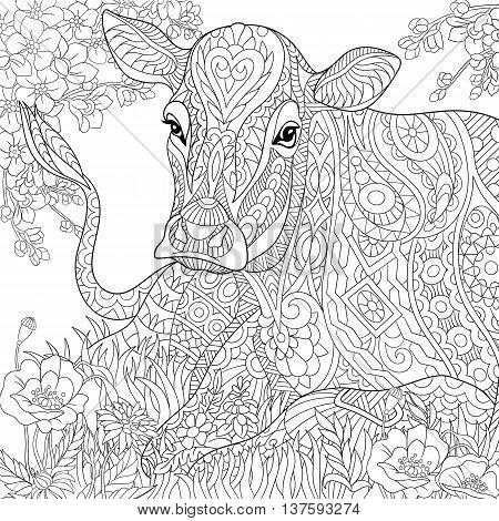 Zentangle stylized cartoon pasturing cow flower blossom grass field. Hand drawn sketch for adult antistress coloring book page T-shirt emblem tattoo with doodle zentangle floral design elements.