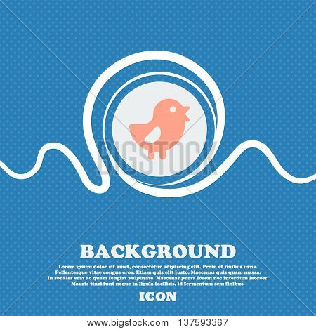 Chicken, Bird Sign Icon. Blue And White Abstract Background Flecked With Space For Text And Your Des