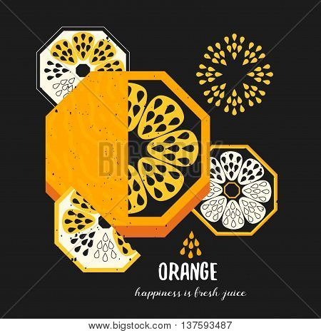 Fruit slice drawing of oranges. Citrus print template in neon color.