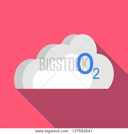 O2 cloud icon in flat style on a pink background