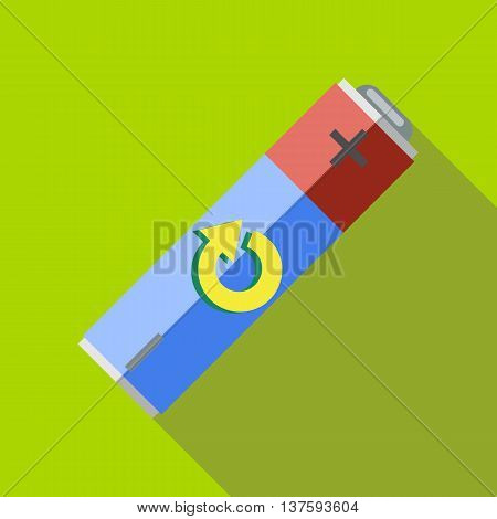Rechargeable battery icon in flat style on a green background