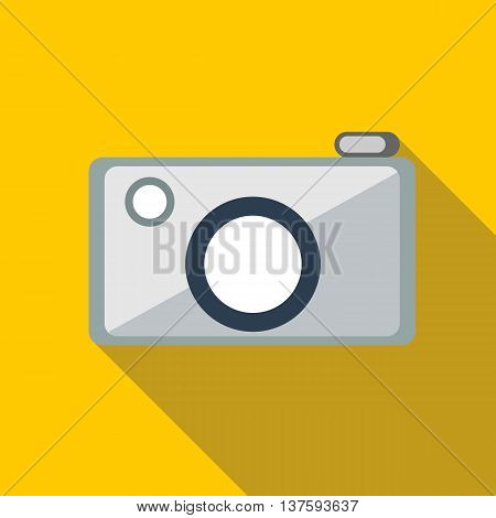 Camera icon in flat style on a yellow background