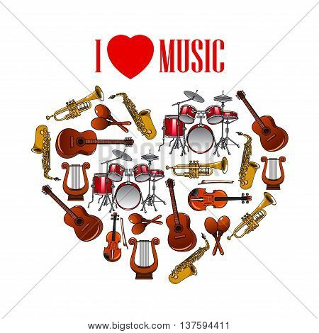 Classic musical instruments shaped in a heart symbol for I Love Music concept design with cartoon icons of trumpets and saxophones, drums, acoustic guitars and violins, maracas and vintage greek lyres
