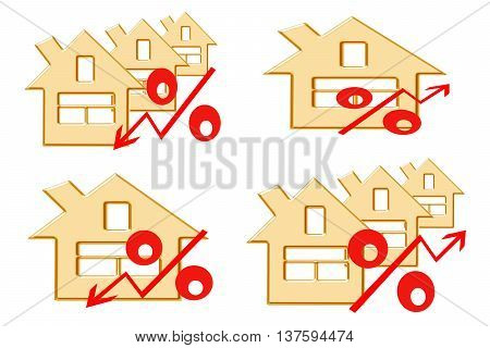 Red percent sign on the background of houses . The concept of price changes on the real estate market