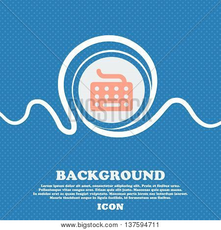 Keyboard Sign Icon. Blue And White Abstract Background Flecked With Space For Text And Your Design.