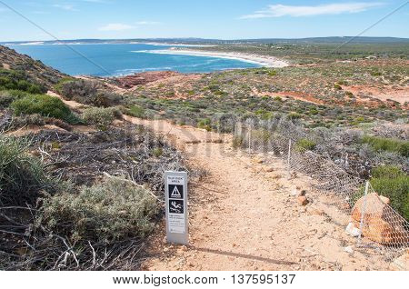 Red Bluff hiking trail to the Indian Ocean beach on the coral coast in Kalbarri, Western Australia.