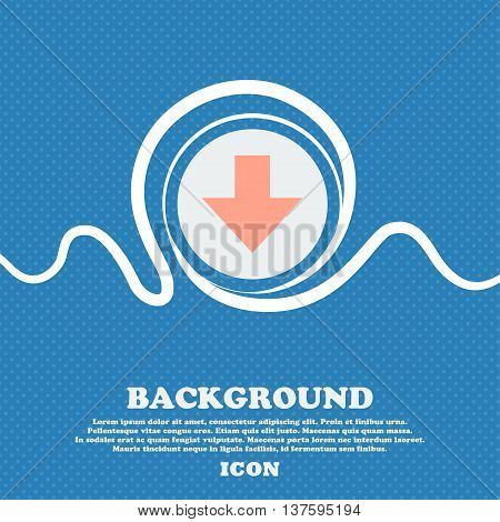 Download Sign. Downloading Flat Icon. Load Label. Blue And White Abstract Background Flecked With Sp