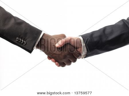 African businessman's hand shaking white businessman's hand
