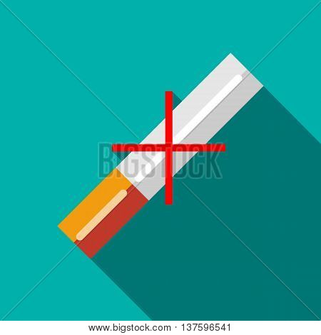 No cigarettes icon in flat style on a turquoise background