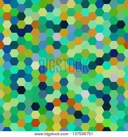Vector Background With Hexagons. Can Be Used For Printing Onto Fabric And Paper Or Decoration. Green