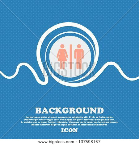 Silhouette Of A Man And A Woman Sign Icon. Blue And White Abstract Background Flecked With Space For