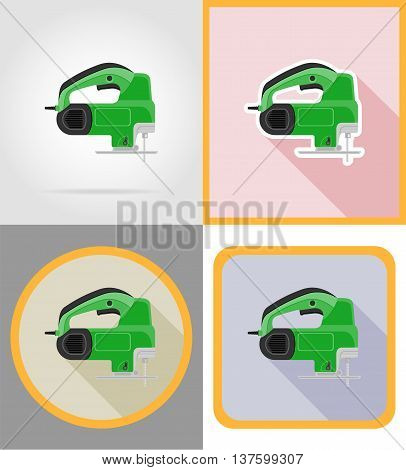 electric saw tools for construction and repair flat icons vector illustration isolated on background
