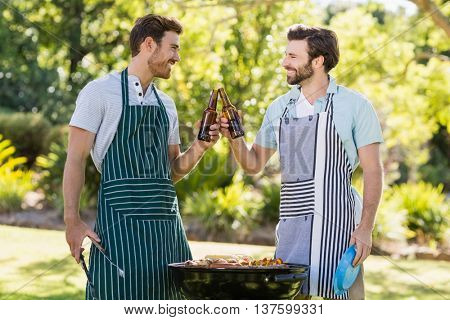 Men toasting beer bottle while preparing barbecue grill in park