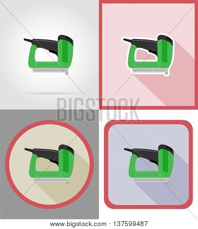 electric stapler tools for construction and repair flat icons vector illustration isolated on background