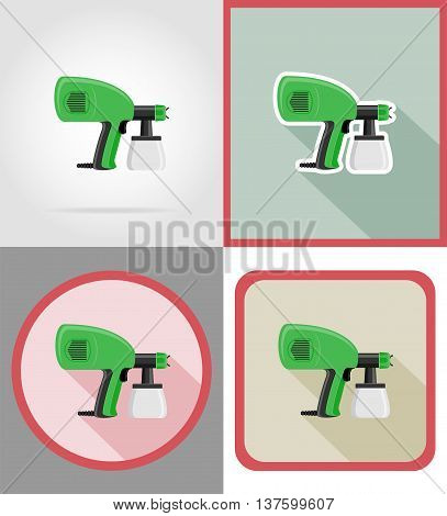 electric airbrush tools for construction and repair flat icons vector illustration isolated on background