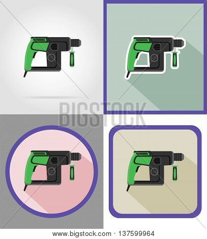 electric drill tools for construction and repair flat icons vector illustration isolated on background