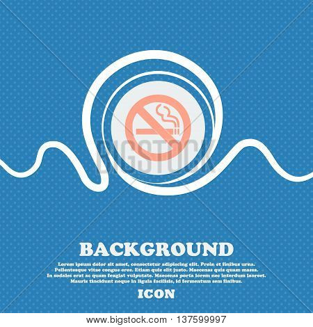 No Smoking Sign Icon. Blue And White Abstract Background Flecked With Space For Text And Your Design