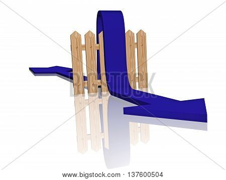 Blue arrow and fence on white reflective background, 3D illustration.