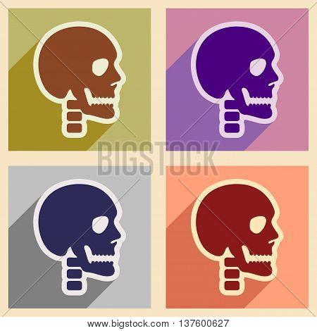 Set flat icons with long shadow human skull