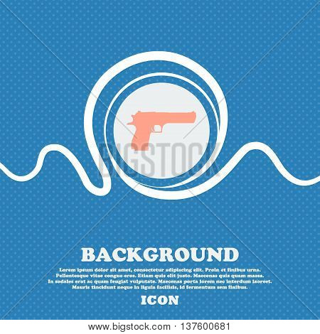 Gun Sign Icon. Blue And White Abstract Background Flecked With Space For Text And Your Design. Vecto