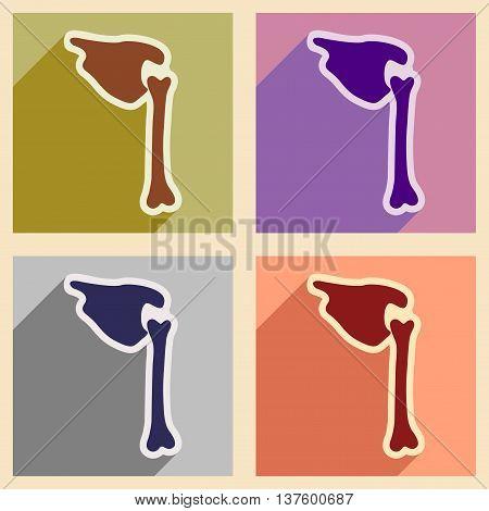 Set flat icons with long shadow human bone