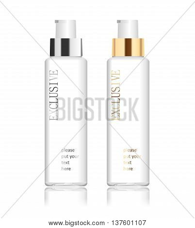 Two transparent acrylic cosmetic bottles isolated on white. Modern design. Place for your text. Detailed vector illustration