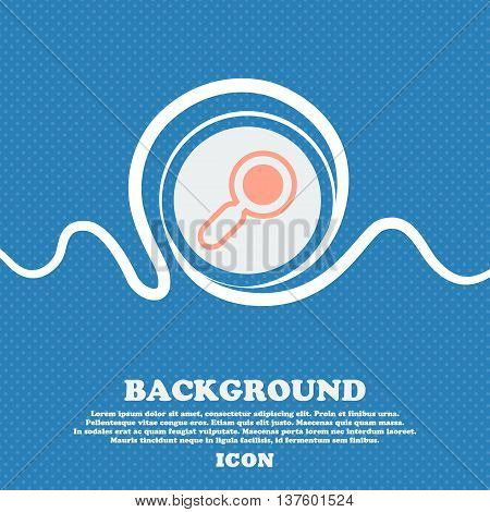 Magnifying Glass, Zoom Sign Icon. Blue And White Abstract Background Flecked With Space For Text And