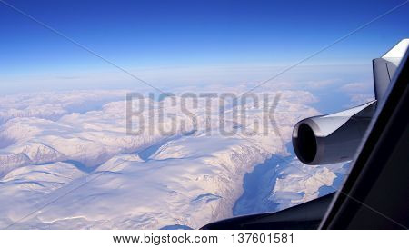 Greenland, aerial view, view out of the plane