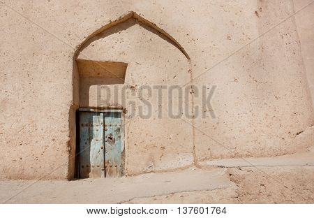 Clay walls of poor house in Middle East. Desert style of Persian architecture
