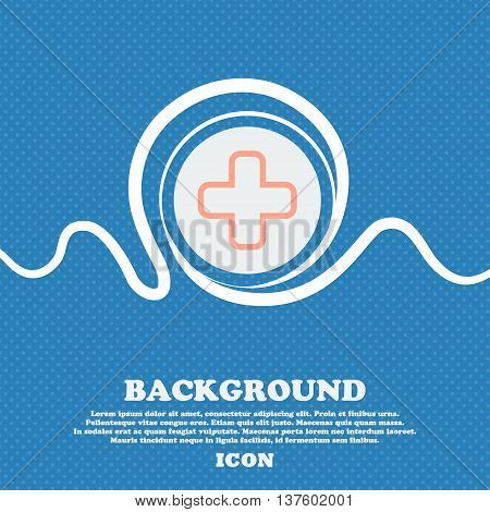 Plus Sign Icon. Blue And White Abstract Background Flecked With Space For Text And Your Design. Vect