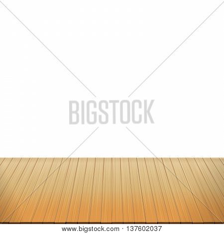 Brown wood floor on white background empty room with space vector illustration eps10