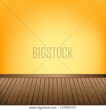 Brown wood floor texture and Yellow wall background empty room with space vector illustration