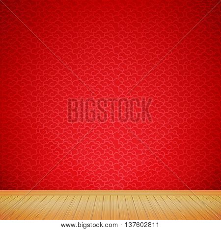 Brown wood floor with chinese style red background empty room with space vector illustration eps10