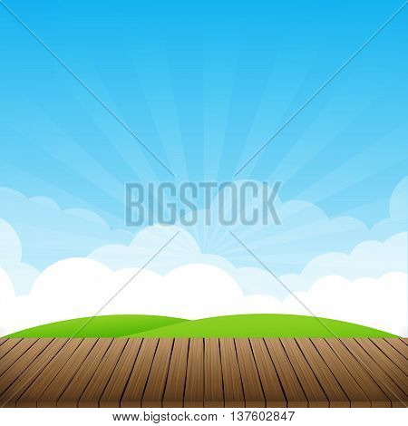 Brown wood floor with green field and blue sky background empty room with space vector illustration eps10