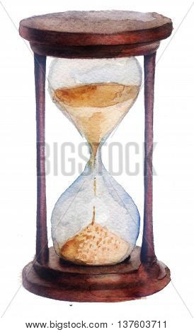 watercolor sketch: hourglass on a white background