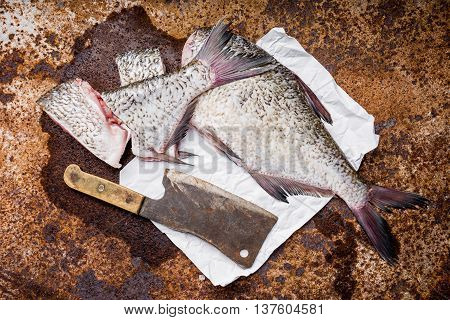 Pieces Of Fresh Bream On An Old Sheet