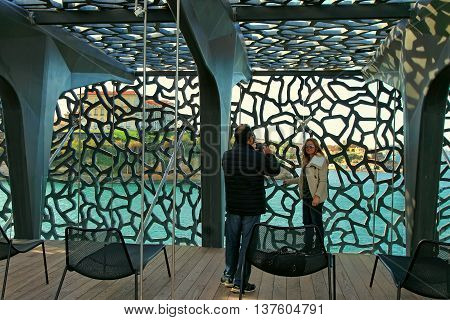 MARSEILLE FRANCE - October 19 2015 : Two photographed in the modern building of Museum of European and Mediterranean Civilizations (MuCEM). It was inaugurated on 2013 when the city was the European Capital of Culture