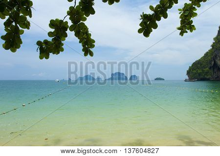 Beauty beach and limestone rocks Ao Phra Nang Thailand.