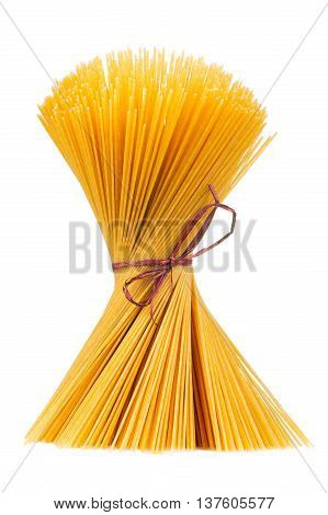 A bundle of raw whole-wheat spaghetti isolated on a white background
